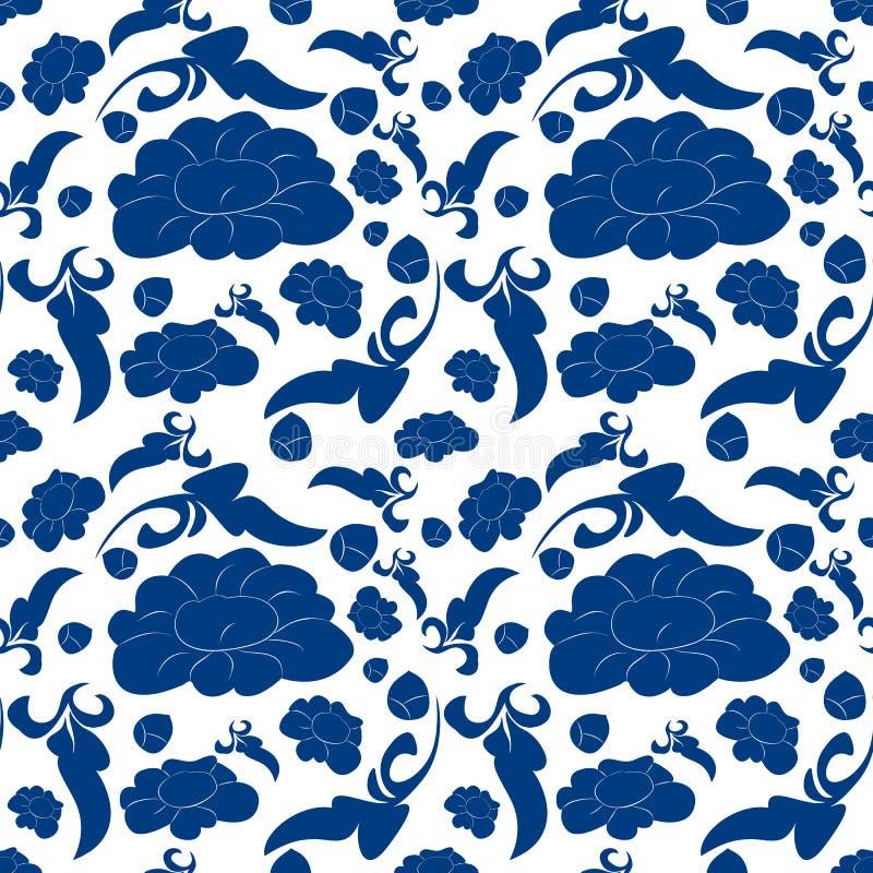 Keramisch-blau-weiße Blumenmuster Feinporzellan-Hintergrunddesign Keramisch-blau-weißer Blumenuntergrund lizenzfreie abbildung