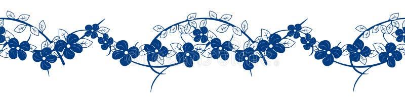 Keramisch-blau-weiße Rahmenlinie mit Blumenmuster, nahtlos Muster Hintergrund und Ränder für Porzellan von Hand zu ziehen Gut für lizenzfreie abbildung