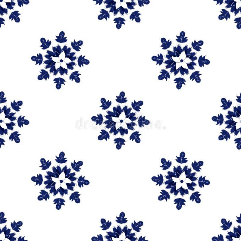 Keramisch blaue Blätter und Blumenmuster Blaue und weiße Keramikfliesen Chinesisches Porzellanhintergrunddesign Handzeichnung lizenzfreie abbildung