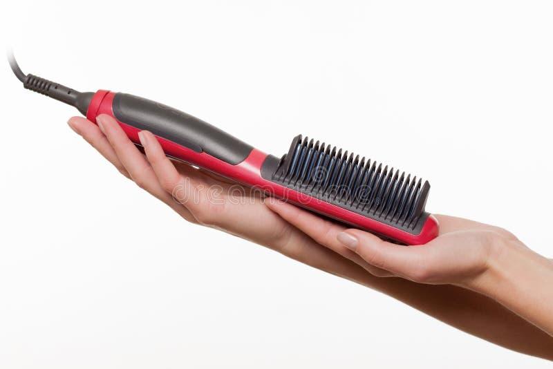 Keramische Haarstreckerbürste lizenzfreie stockfotografie