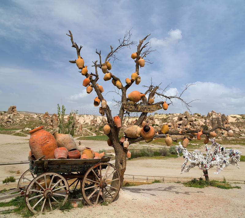 Keramische Krüge Cappadocia, die Türkei lizenzfreie stockbilder