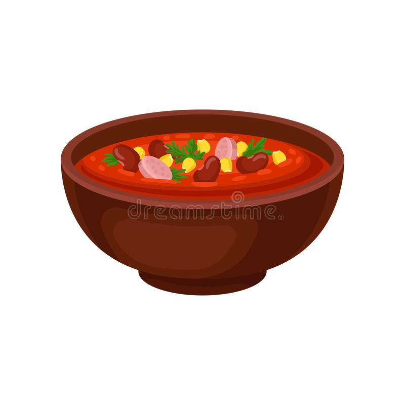 Keramische Schüssel würzige mexikanische Suppe mit Bohnen, Mais und geschnittener Wurst Kulinarisches Thema Flaches Vektordesign  stock abbildung