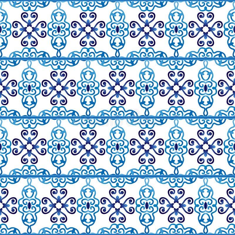 Keramische tegelpatroon Islamitische, Indische, Arabische motieven Het naadloze patroon van het damast Porselein etnische Boheems stock illustratie