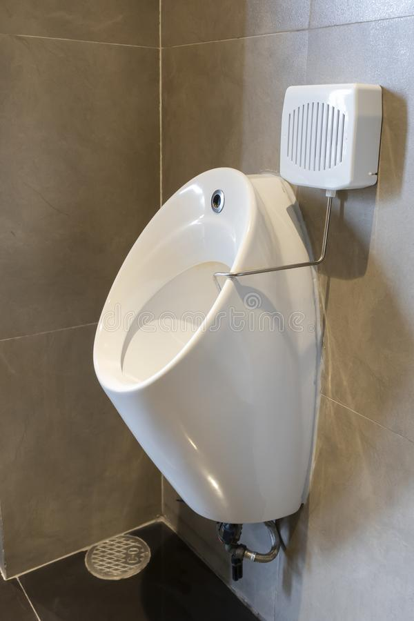 Keramische urinekamer: ontwerp van de pot binnenzijde met mooie marmermannetjes, openbaar toilet stock afbeeldingen