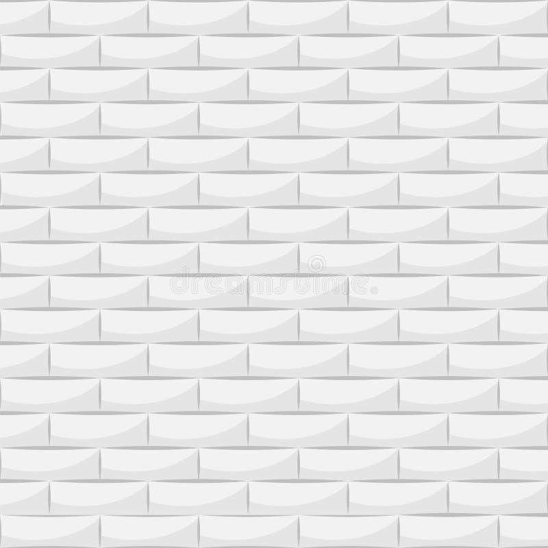 Keramische weiße Ziegelsteinfliesenwand Auch im corel abgehobenen Betrag vektor abbildung