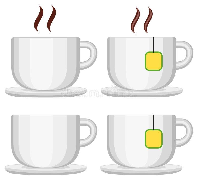 Keramischer TeeKaffeetassesatz lokalisiert auf weißem Hintergrund lizenzfreie abbildung