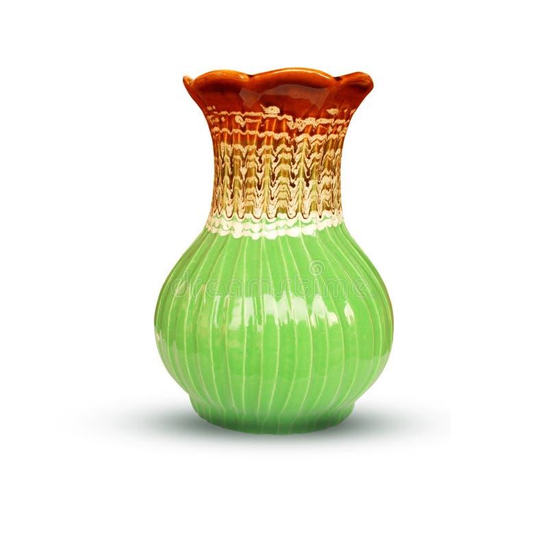 Keramischer Vase, grüner Vase lokalisiert auf weißem Hintergrund stockbilder