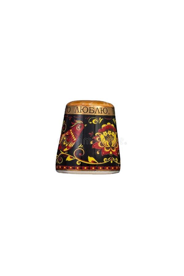 Keramisches Andenkenspielzeug mit Farbmalerei auf lokalisiertem weißem Hintergrund lizenzfreies stockbild