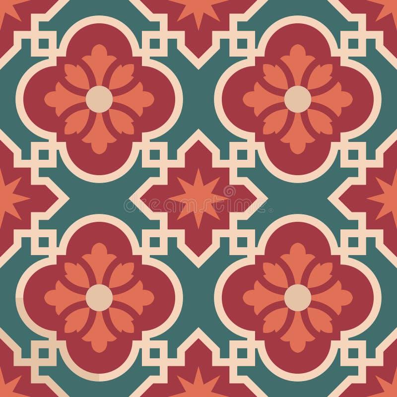 Keramisches marokkanisches Mosaikfliesenmuster mit Blume stock abbildung