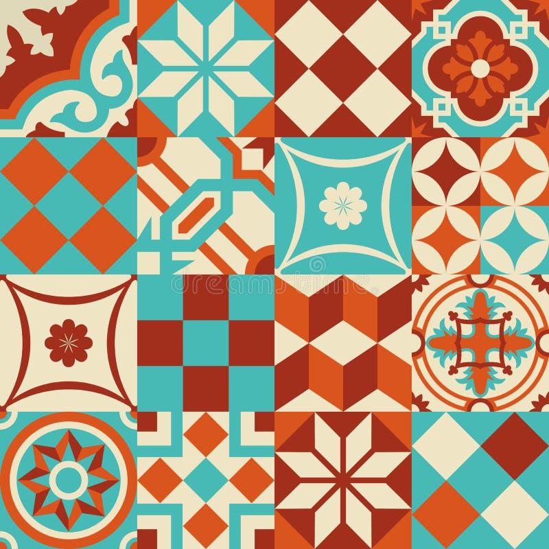 Keramisches Mosaikfliesenmuster mit Geometrieformen lizenzfreie abbildung