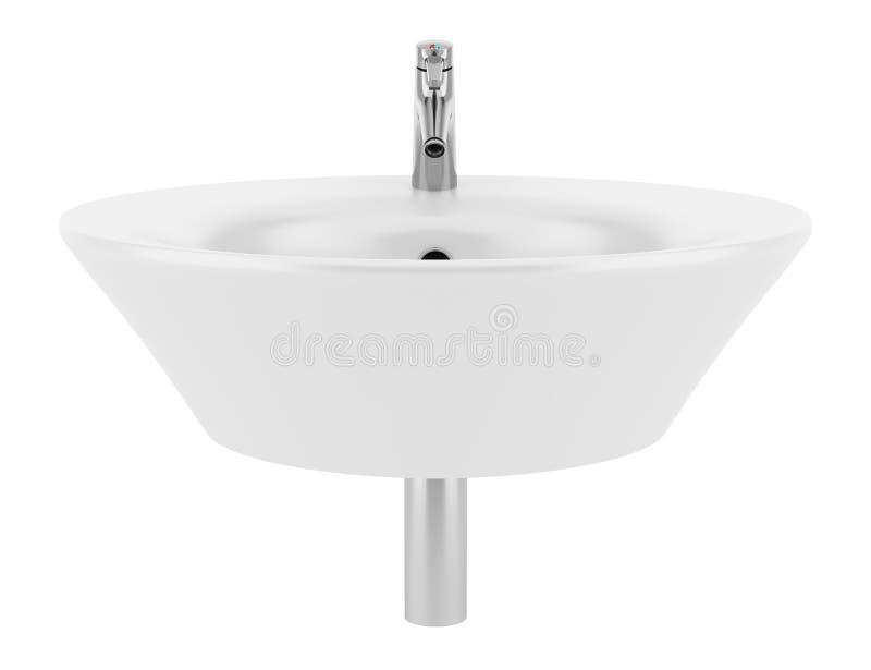 Keramisk badrumvask som isoleras på vit stock illustrationer