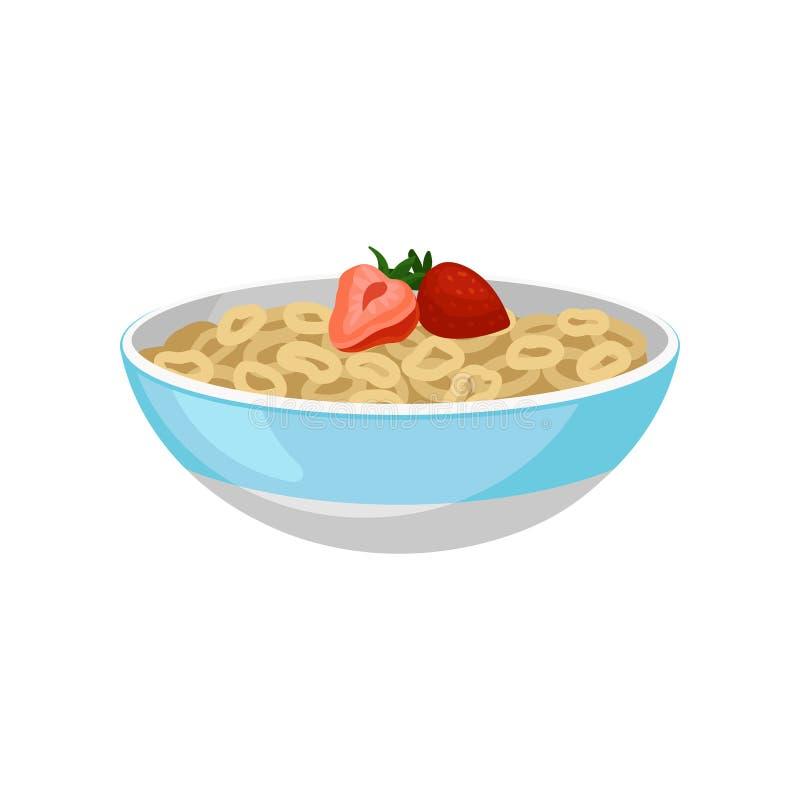 Keramisk bunke med cirkelflingor och två mogna jordgubbar överst Smaklig och söt frukostlägenhetvektor för produkt stock illustrationer