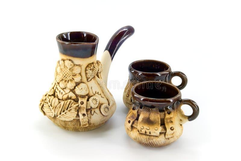keramisk kaffeset royaltyfria bilder