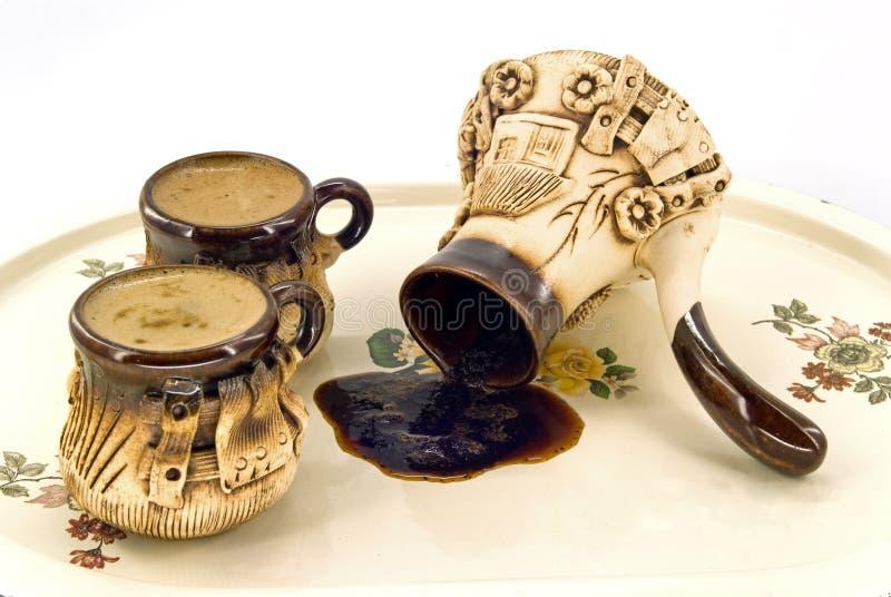 keramisk kaffeset arkivbilder