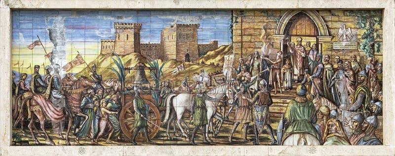 keramisk kyrklig vägg- sicilian tegelplatta royaltyfri foto