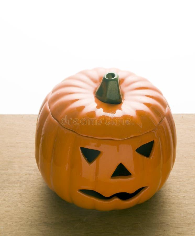 Keramisk lykta Halloween för pumpastålaro fotografering för bildbyråer
