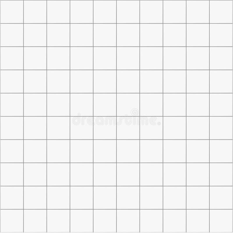 Keramisk sömlös modellbakgrund för vit fyrkant, vektortegelplatta för kök eller badrum vektor illustrationer