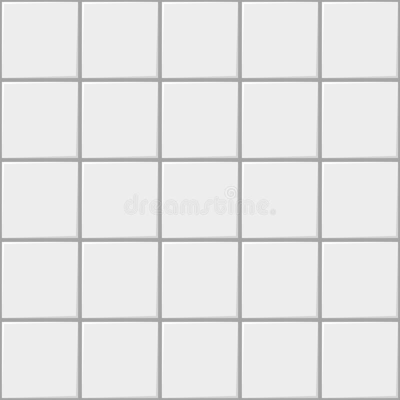 Keramisk sömlös modellbakgrund för vit fyrkant, vektortegelplatta för kök eller badrum, bakgrund för vitt ljus stock illustrationer