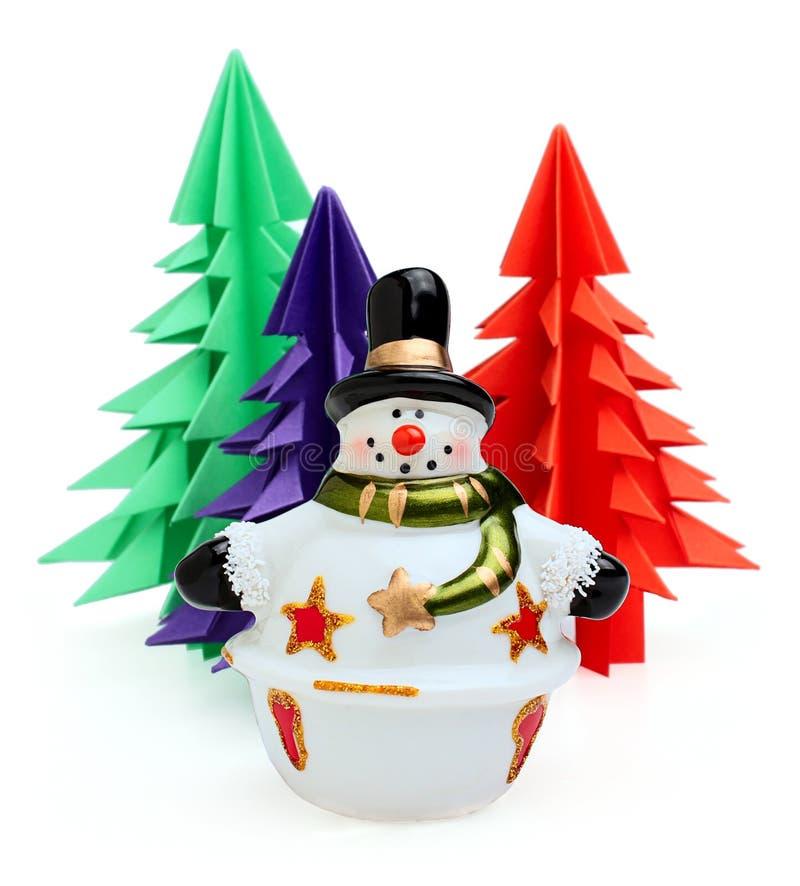 Keramisk snowman royaltyfri foto