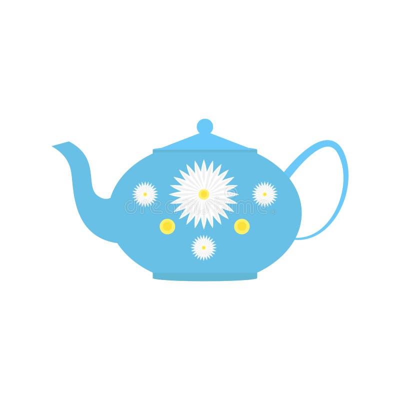 Keramisk teapot med blommor royaltyfri illustrationer
