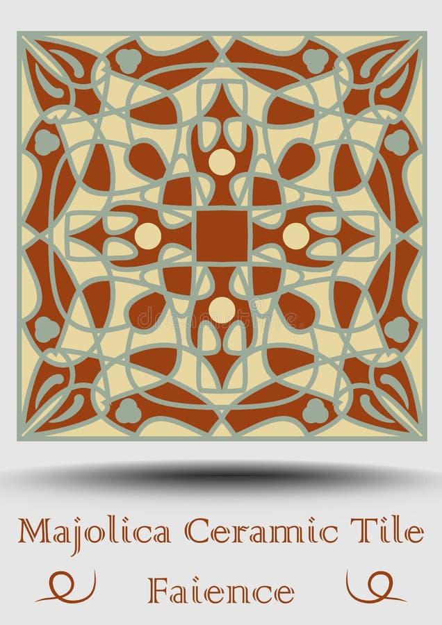 Keramisk tegelplatta för fajans i beiga, olivgrön gräsplan och röd terrakotta Keramisk majolica för tappning Traditionell glasyrk vektor illustrationer