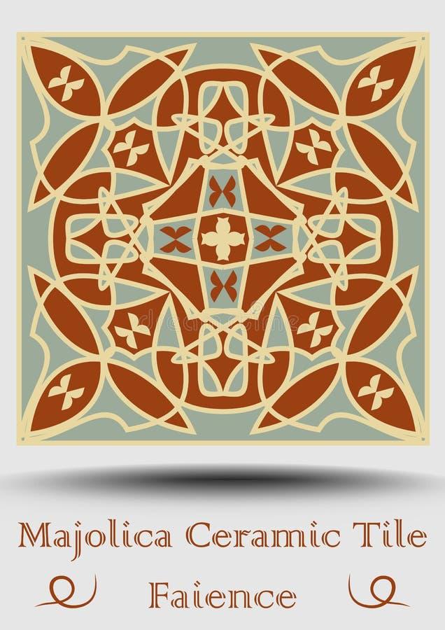 Keramisk tegelplatta för fajans i beiga, olivgrön gräsplan och röd terrakotta Keramisk majolica för tappning Traditionell spansk  royaltyfri illustrationer