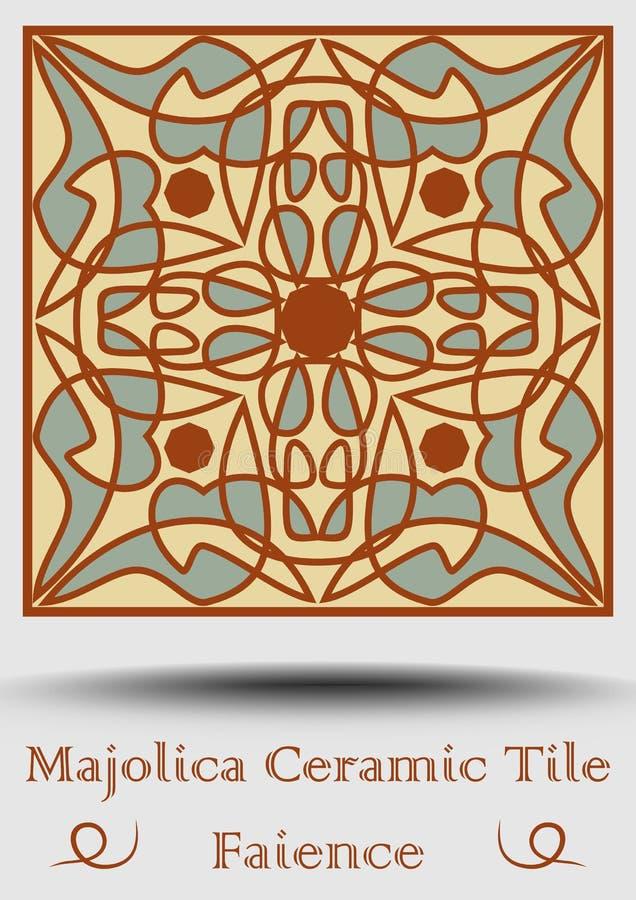 Keramisk tegelplatta för fajans i beiga, olivgrön gräsplan och röd terrakotta Traditionell krukmakeriprodukt Traditionell spansk  stock illustrationer