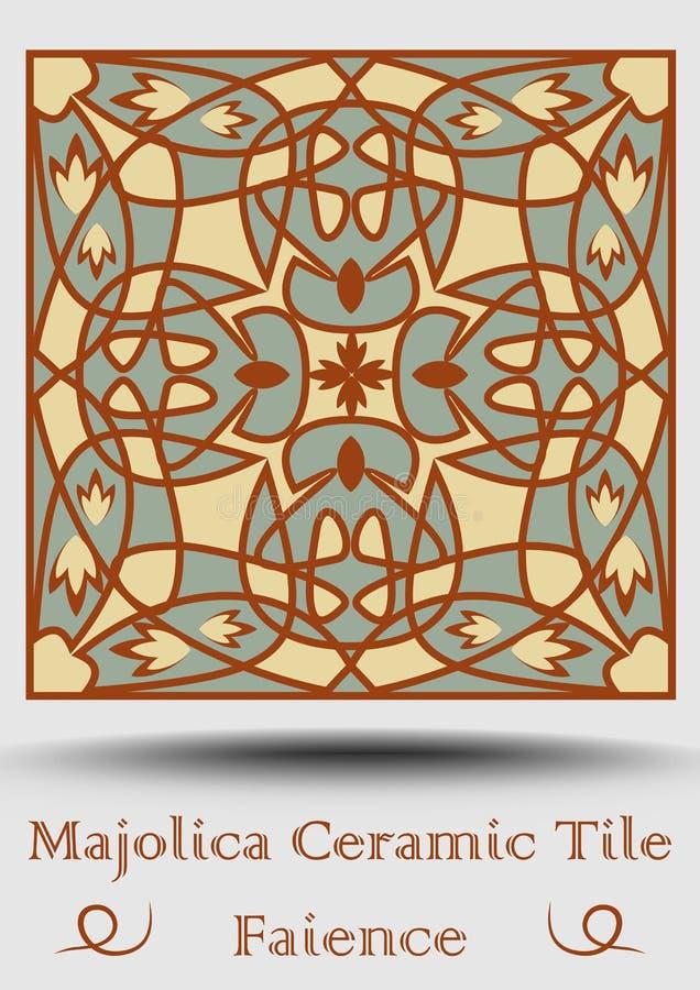 Keramisk tegelplatta för fajans Keramisk majolica för tappning i beiga, olivgrön gräsplan och röd terrakotta Traditionell spansk  vektor illustrationer