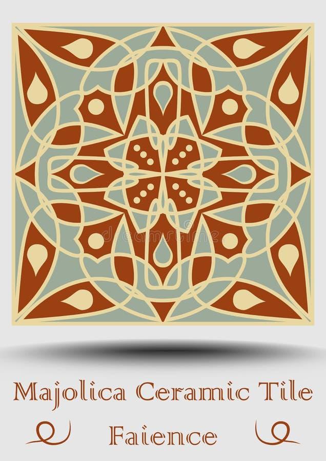 Keramisk tegelplatta för Majolica i beiga, olivgrön gräsplan och röd terrakotta Keramisk fajans för tappning Traditionell spanjor stock illustrationer