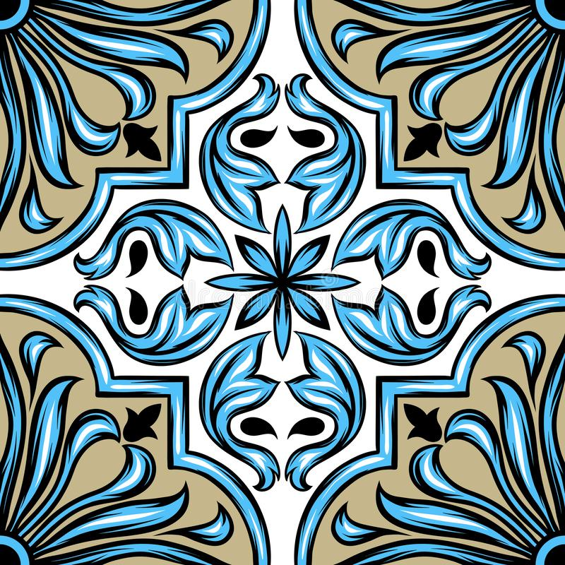 Keramisk tegelplatta för portugisisk azulejo royaltyfri illustrationer