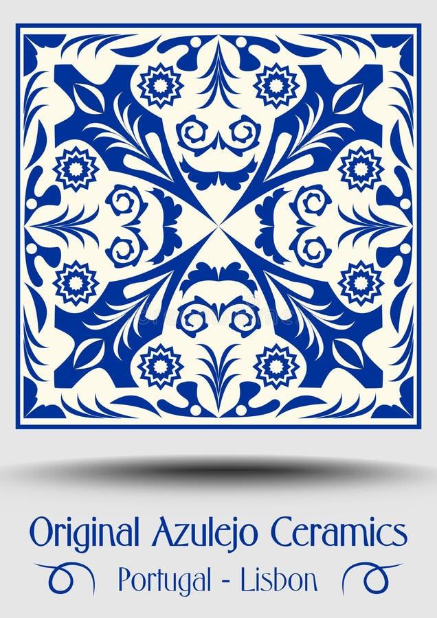 Keramisk tegelplatta för tappning i azulejodesign med blåttmodeller på vit bakgrund royaltyfri illustrationer