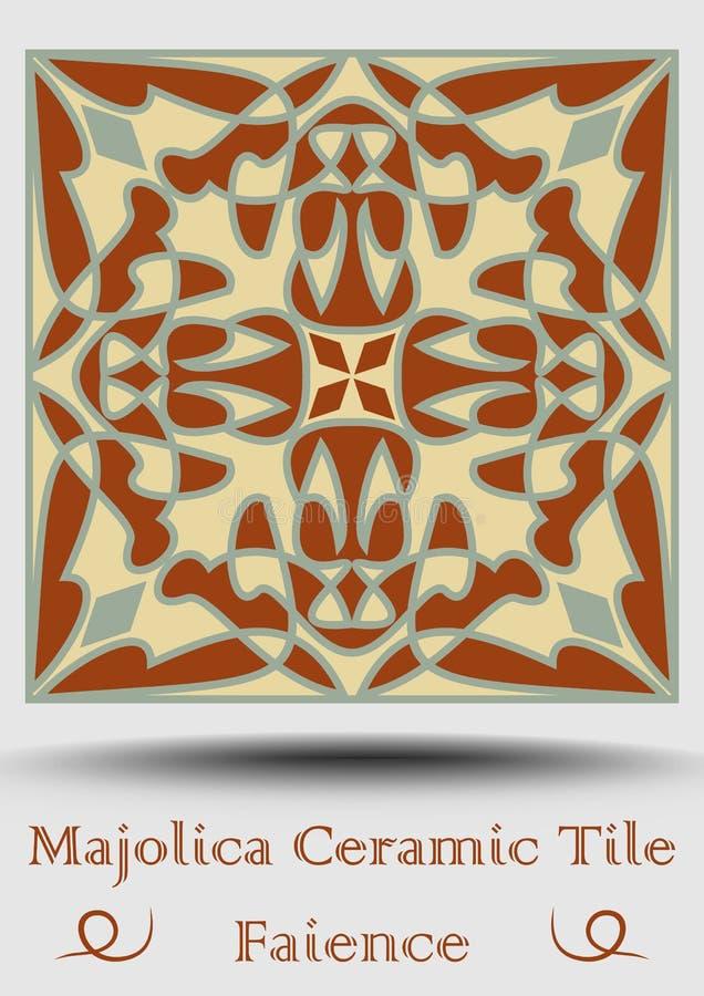 Keramisk tegelplatta i beiga, olivgrön gräsplan och röd terrakotta Keramisk majolica för tappning Traditionell krukmakeriprodukt  vektor illustrationer