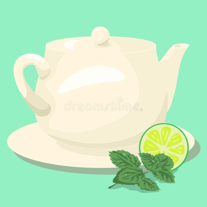 Keramisk tekanna med mintkaramellte och gröna sidor royaltyfri illustrationer