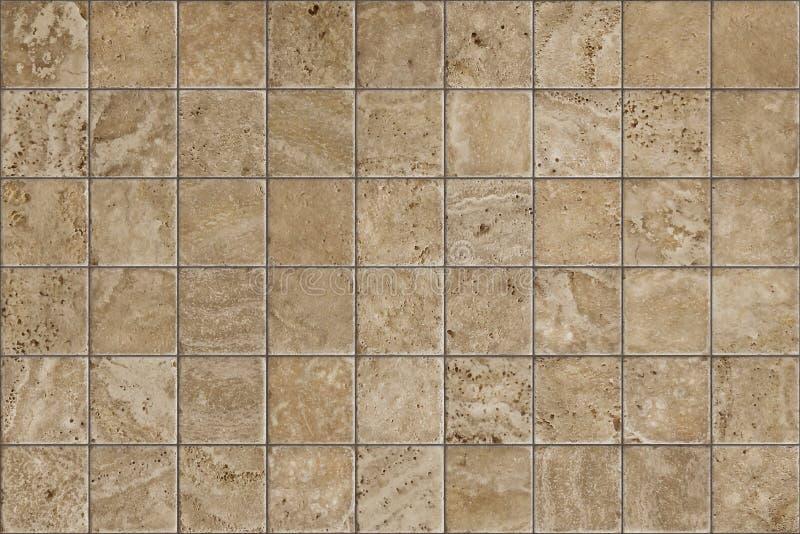 Keramisk Travertinetegelplatta, sömlös textur för mosaikfyrkantdesign, royaltyfria foton