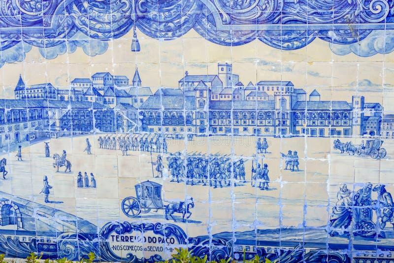 keramiska historiska lisbon för azulejo tegelplattor arkivfoto