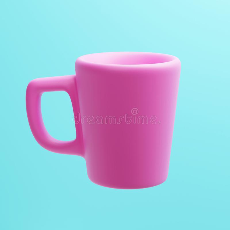 Keramiska rosa färger rånar, 3d tolkningen, kaffekopp fotografering för bildbyråer