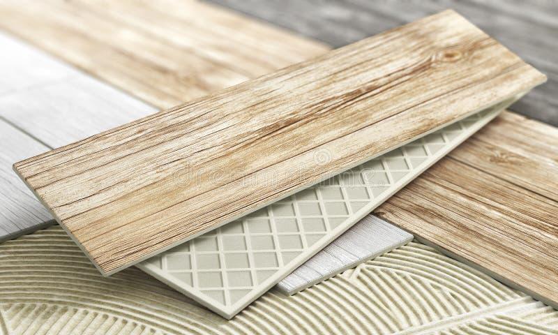 Keramiska tegelplattor med trätextur på ett suddigt golv vektor illustrationer