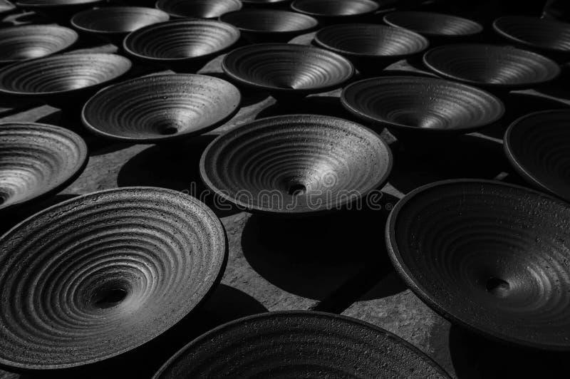 Keramiskt pläterar Perspectival historisk handgjord keramik arkivfoton