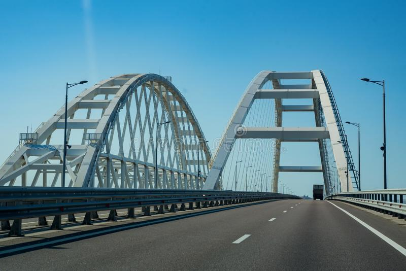 KERCH, RUSSIA - 5 AUGUST 2019: View of new Crimean bridge in Russia from the car stock photos