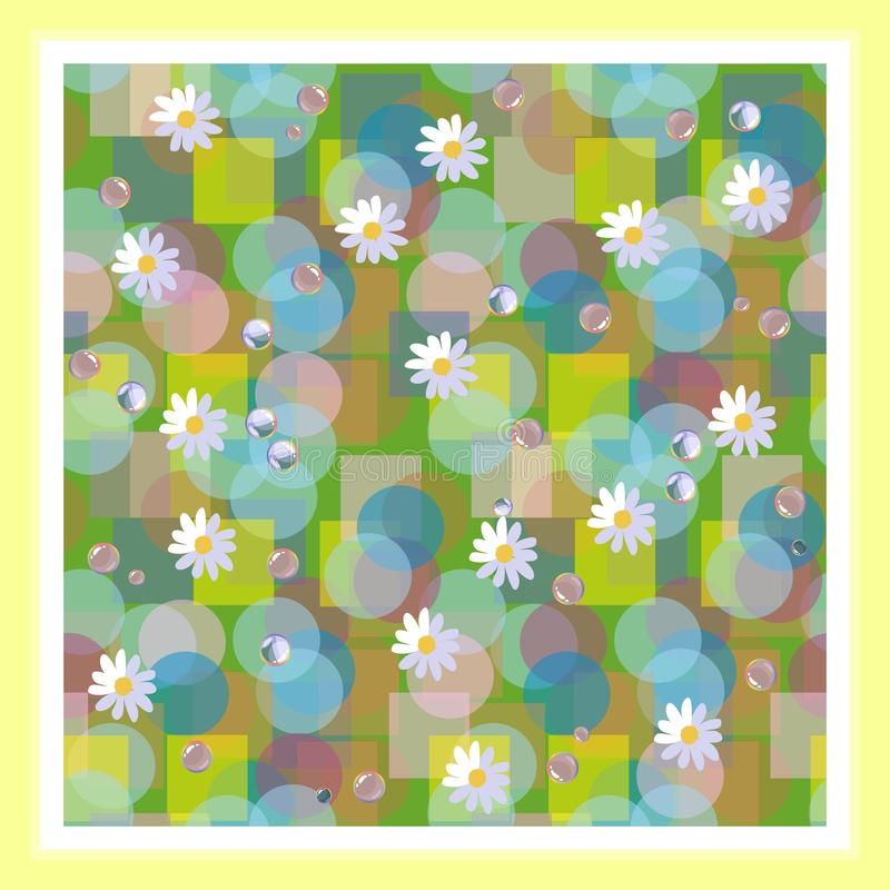 Kerchief square design. Bandana print with daisies and dewdrops. Beautiful vector card vector illustration