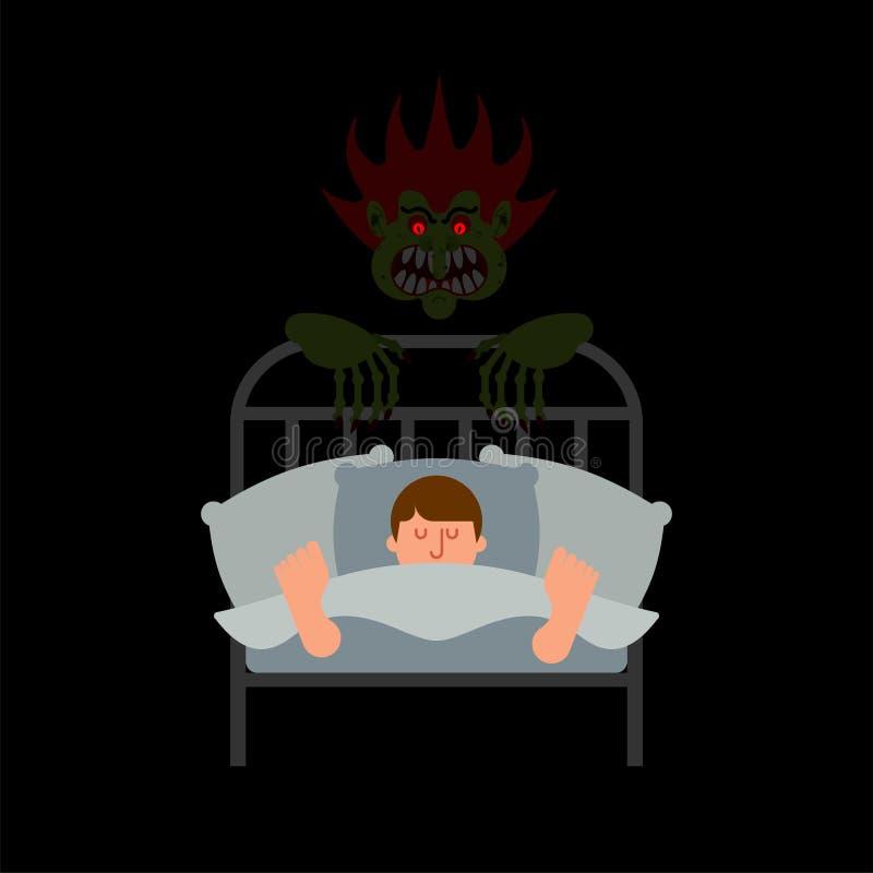 Kerel in bed en Nachtmerrie Verschrikking van nacht Afschuwelijke droom Monst vector illustratie