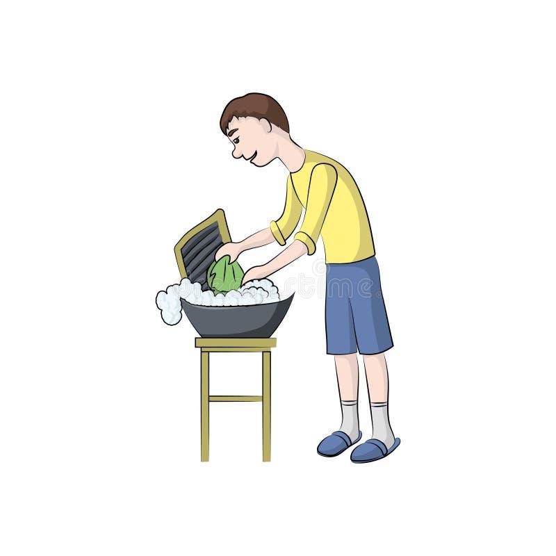 Kerel, de wassenkleren van de jongensmens Vector kleurenillustratie royalty-vrije illustratie