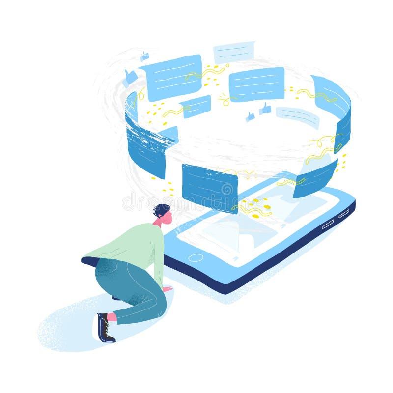 Kerel die reuze mobiele telefoon en tornado van berichten bekijken Concept informatiestroom, mededeling via boodschapper royalty-vrije illustratie