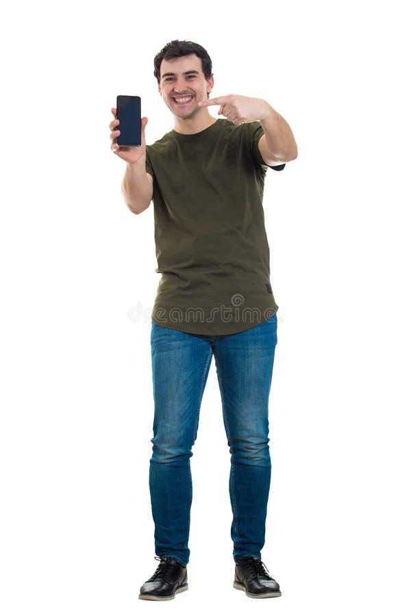 Kerel die telefoon voorstellen stock fotografie