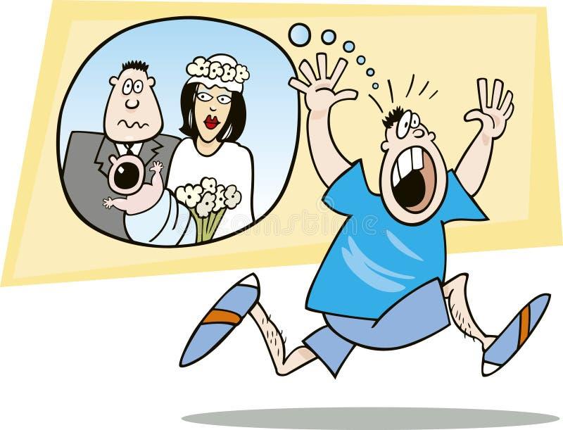 Kerel die van huwelijk bang wordt gemaakt royalty-vrije illustratie