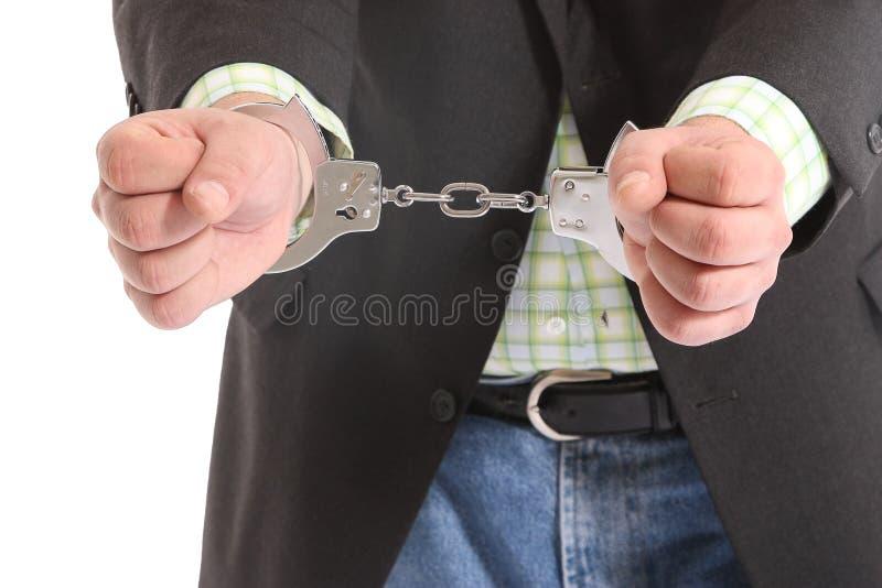 Kerel in handcuffs stock foto's