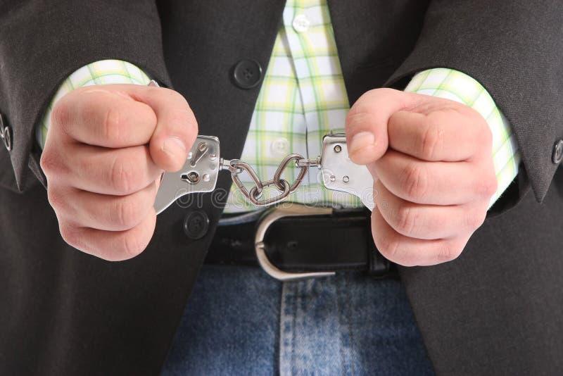 Kerel in handcuffs royalty-vrije stock afbeeldingen