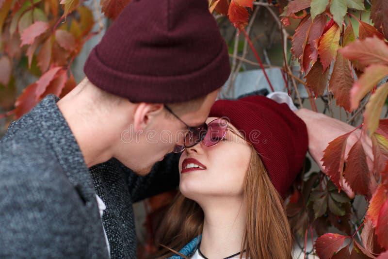 Kerel met een meisje op een achtergrond van het de herfstgebladerte stock foto's