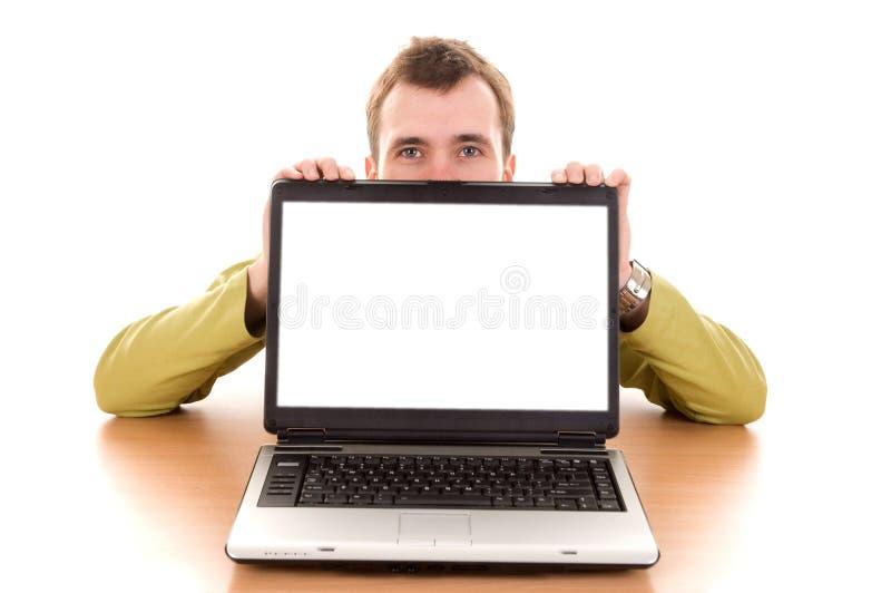 Kerel met laptop royalty-vrije stock afbeelding