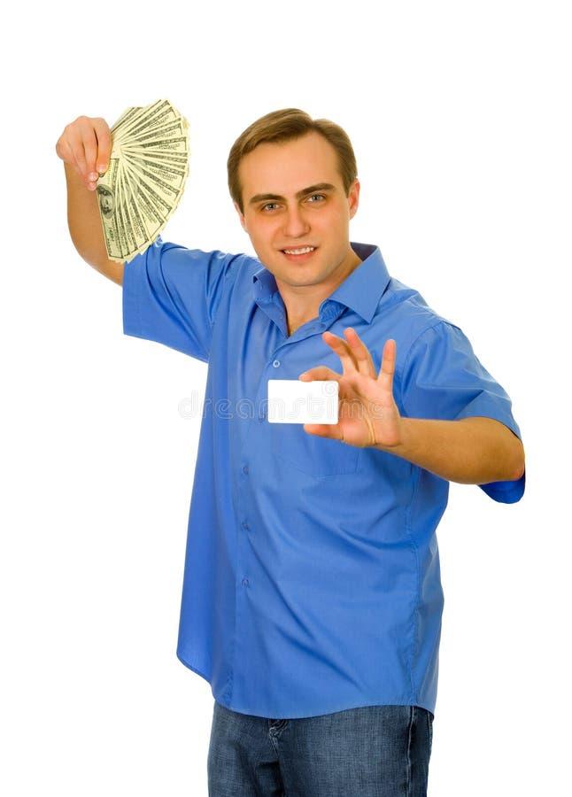 Kerel met ventilator van dollars en een adreskaartje royalty-vrije stock afbeeldingen